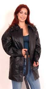 A30 Ladies Leather Carcoat with Hood