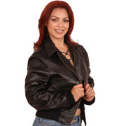 Ladies A2 Bomber Leather Aviation Bomber Jacket in Cowhide