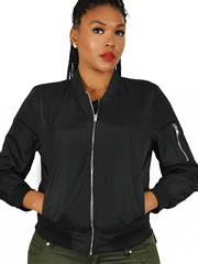 Ladies MA1 Black Nylon Military Pilot Specs Aviation Bomber Jacket