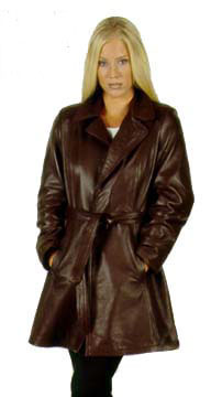 71 Ladies USA Made Leather Wrap Coat with Belt