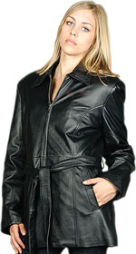 W20P Ladies Black Leather Belted with Zipper Plus Sizes