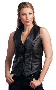 ladies genunie leather vests--Style 382 has side lacing and 3 silver snaps