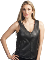 LV2681 Ladies Light Weight Leather Vest with Laces