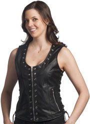 LV2682 Ladies Leather Zipper Vest with Metal Eyelets and Laces