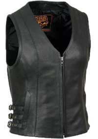 LV4510 Ladies Motorcycle Leather Vest with Adjustable Side Buckles