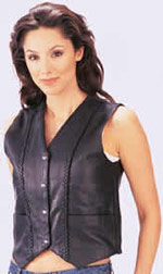 ladies genunie leather vests--Style 664 is black leather it  has no side lacing and 4 silver snaps <empty>