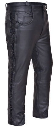 P751 Leather Pants with Side Laces
