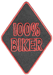 100% Biker Diamond Shape Black Twill and Red Stitching Patch